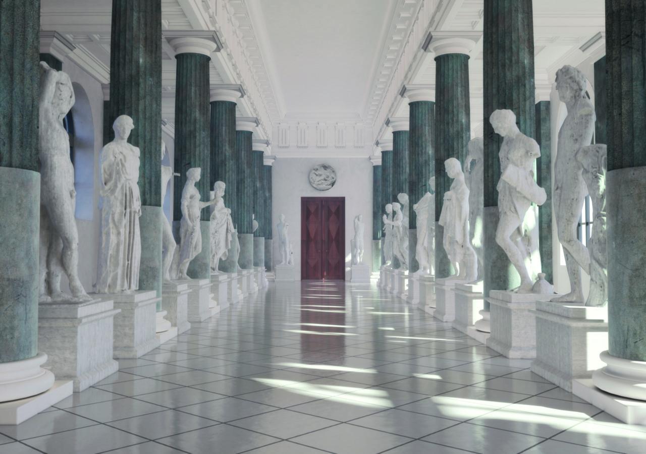 Sala Kolumnowa Wydziału Historycznego UW, rekonstrukcja wirtualna