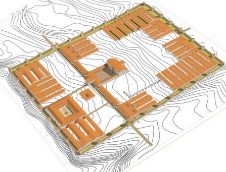 Komputerowa rekonstrukcja części zabudowy rzymskiego obozu, autor: J. Kaniszewski