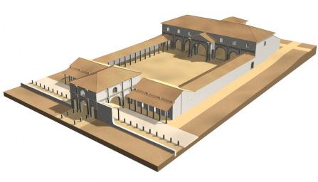 Komputerowa rekonstrukcja budowli komendantury rzymskiego legionu, autor: J. Kaniszewski, T. Sarnowski