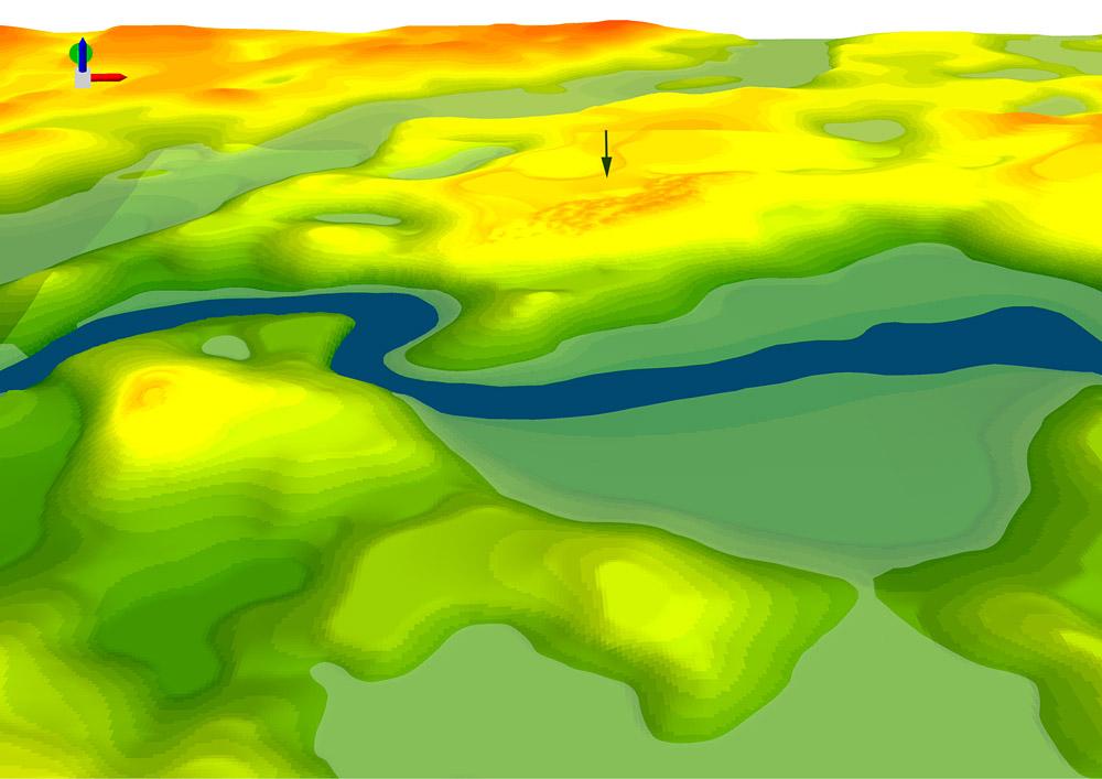 Fig.1 - Numeryczny model terenu (DTM) cmentarzyska kurhanowego w Nowym Łowiczu, pow. drawski. Rys. A.Cieśliński